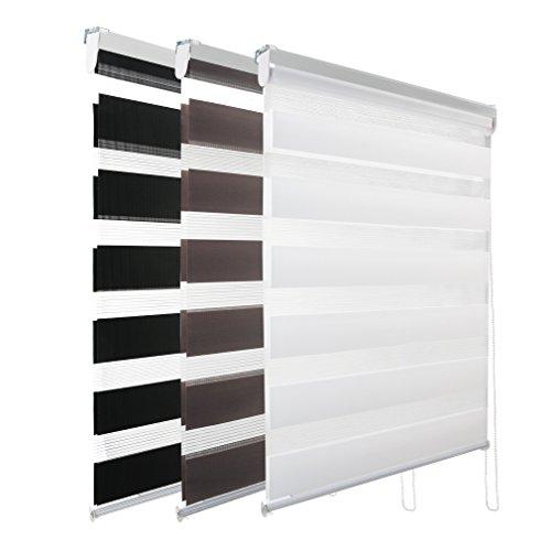 Kinlo 80*150 kaffe Duo Rollo mit Kettenzug Standard Doppelrollos Seitenzug für Fenster mit Bohren