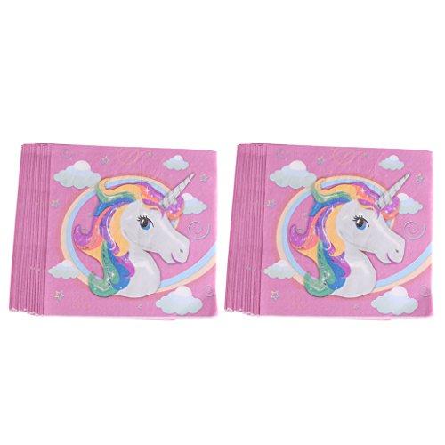 40 Pezzi Tovaglioli Stampa Unicorno Stovilglie Compleanno Feste Bambini Carta Rosa