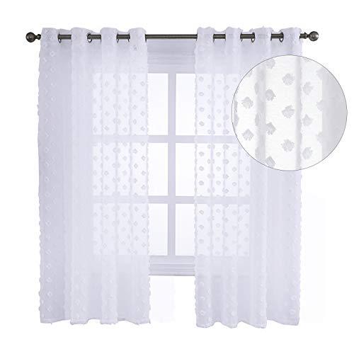 EUGAD 2er Set Gardinen transparent mit Ösen Dekoschal Blumen Muster Stores Fensterschal Ösenschal Ösenvorhang Vorhang für Wohnzimmer Schlafzimmer 140x137cm