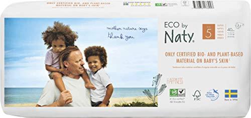 Eco by Naty, Größe 5, 80 Windeln, 11-25kg, pflanzliche Premium-Bio‑Windeln mit 0% Plastik auf der Haut