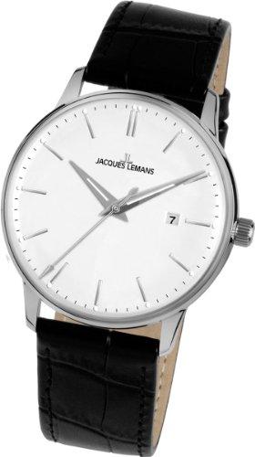 9eeb5d8a40 Jacques Lemans - N-213A - Montre Homme - Quartz Analogique - Bracelet Cuir  Noir