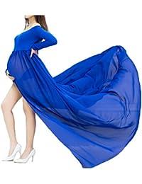 Mujer Embarazada Gasa Larga Vestido de maternidad Split Vista delantera foto Shoot Dress Faldas fotográficas de maternidad
