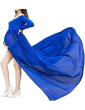 [Patrocinado]Mujer Embarazada Gasa Larga Vestido de maternidad Split Vista delantera foto Shoot Dress Faldas fotográficas de...