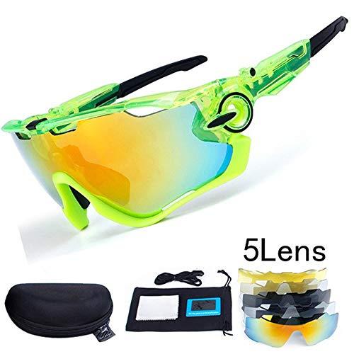 XIAOCHENGE 5 Objektiv Polarisierte Fahrrad Brille Uv400 Kiefer Fahrrad Radfahren Gläser Für MTB Outdoor Sports Radfahren Sonnenbrillen Angeln Gläser, F -