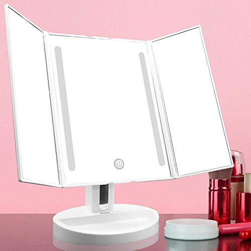 Auxent Kosmetikspiegel mit LED Beleuchtung und Touchscreen aus Kristallglass und ABS Kunststoff, Tischspiegel Schminkenspiegel Beleuchtet mit Blendfreier Bleuchtung für Wohnzimmer, Kosmetikstudio, Spa und Hotel - 5