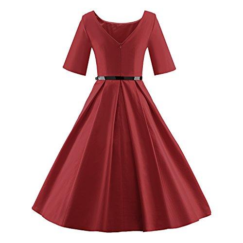 LUOUSE Audrey Hepburn 1/2 Sleeve 1950er Vintage Rockabilly Kleid W702-WineRed