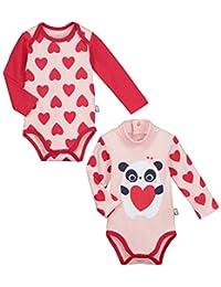 Petit Béguin - Lot de 2 bodies manches longues bébé fille Minilove 86174ca515a