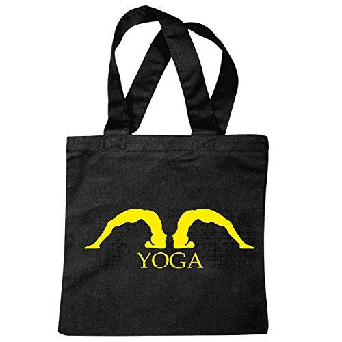 Tasche Umhängetasche Yoga Gym Fitness Gymnastik YOGAÜBUNGEN Yoga Club BAUCHWEG ÜBUNGEN Training Einkaufstasche Schulbeutel Turnbeutel in Schwarz