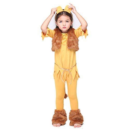 B-JOY Unisex Kinder Löwe Kostüm für Mädchen und Kleinkinder, Löwenkostüm Tierkostüm Kinderkostüm 95cm-135cm (XL(125cm-135cm)) (Mädchen 3-jähriges Halloween-kostüme)