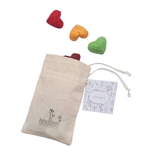 Set regalo paperblooms - set da coltivazione di semi a forma di cuore in sacchetto di cotone colorato - set di 10 palline di semi come decorazione affascinante o idea eco-regalo per il compleanno, il matrimonio o la festa della mamma