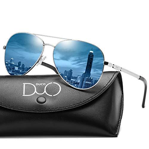 DUCO Coole Fliegerbrille Sonnenbrille Klassische Unisex Pilotenbrille Verspiegelt UV400...