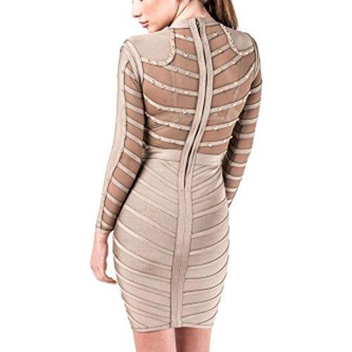 HLBandage Long Sleeve Mesh Beaded Knee Length Rayon Bandage Dress Gris