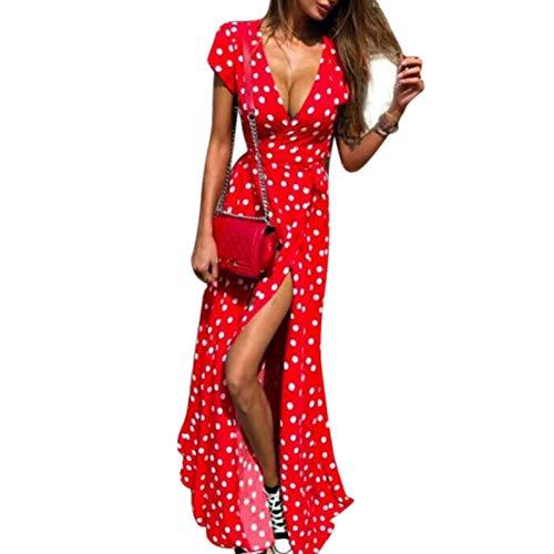 Mujer Largo Vestido, Cuello V Bohemia Floral Beach