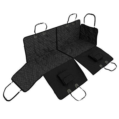 Hundedecke Autoschondecke für Rückbank + Seitenschutz, 2 Taschen, Transportbeutel – Teilbare Hunde Sitzauflage wasserdicht waschbar | Weiche rutschfeste Schutzdecke + Gurtöffnung | Auto Schutz Decke