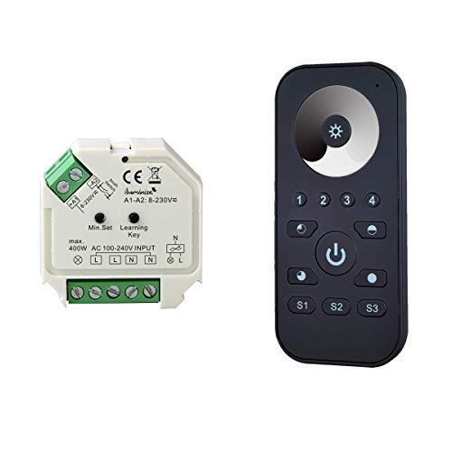 iluminize Funk Set Dimm-Aktor 200W / 400W Phasenabschnitt + Fernbedienung Mini für weiße LEDs, Mindestlast nur 5W, WICHTIG: nicht Zigbee 3.0 kompatibel (Dimm-Set)