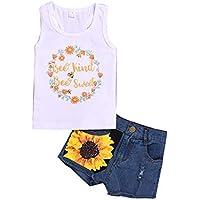 SOONHUA 1-8T Toddler Kids Girl Tops sin Mangas Chaleco + Pantalones Cortos de Mezclilla de Girasol Floral Conjuntos de Ropa de Verano Lindos Conjuntos