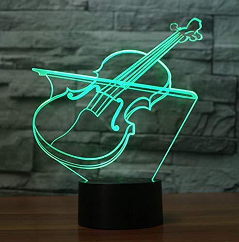 3D Lampe LED Nachtlicht,SUAVER 3D Optical Illusion Lampe Touch Tischlampe 7 Farbwechsel Dekoration Lampe USB Powered Stimmungslicht Skulptur Licht Geburtstags Weihnachts Geschenk (Violine-1)