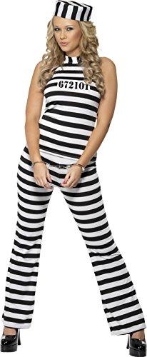 Kostüm Twin Ideen Tag (Smiffys, Damen Süßer Sträfling Kostüm, Oberteil, Hose und Hut, Größe: M,)