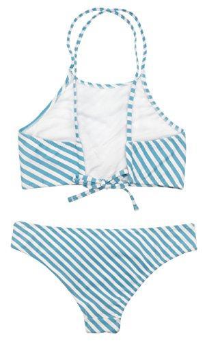 SHEKINI Damen Neckholder Push Up Sport Streifen Bikini Set Bandeau Strandmode Bademode Badeanzug Zweiteilige Gepolstert Strandkleidung Split Blau-weiß Streifen
