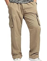 9fc7321d36c Sidiou Group Pantalons décontractés pour Hommes Pantalon Cargo Pantalon  décontracté Grande Taille Salopette en Coton Pantalon