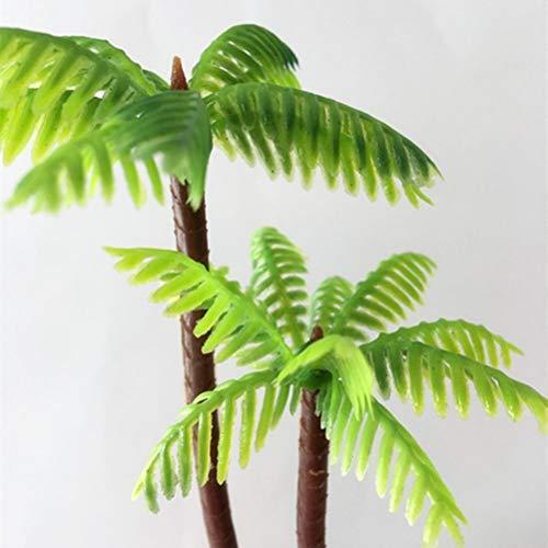 Tinksky 5 Pcs En Plastique Cocotier Palmier Miniature Plante Pots Bonsaï Artisanat Mini Paysage Paysage BRICOLAGE Poupée Maison Résine Décoration