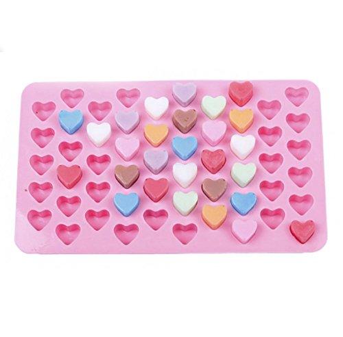 Kentop Mini-Herzform Silikon Form Fondant Kuchen Form Schokolade Gelee Süßigkeiten Backen Formen mit 55 Gitter