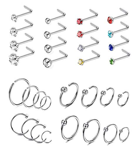 Cassieca 32pcs piercing di naso anelli in acciaio inossidabile piercing for donna cz palline septum nostril piercing kit body jewelry