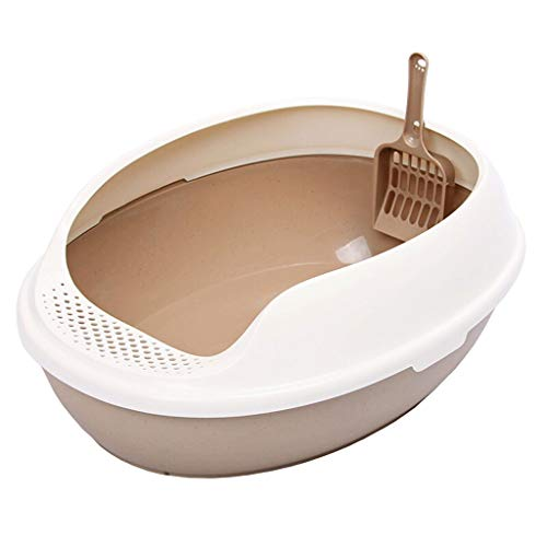 Cat Toilet Bacino di Sabbia del Gatto Semi-Chiuso Cat WC del Gatto Grande Spazio Cat Potty Cat Pot Cat Supplies Toilette per Gatti (Color : Brown)