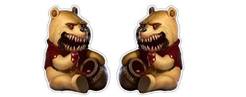 Zombinnie Evil Monster Winnie Pu Bär Honey Zombie Aufkleber Sticker / Plus Schlüsselringanhänger aus Kokosnuss-Schale / Auto Motorrad Laptop Notebook Koffer Snowboard Skateboard BMX