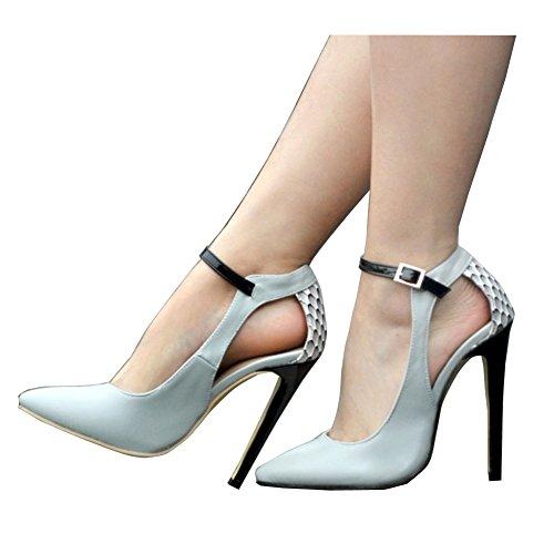 Kolnoo Damen Faschion 10.5cm Knöchel Wölbungs Bügel spitze Zehe Absatz Partei Pumpen Schuhe Gray