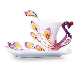 Fabriqué à la main en émail vitrifié Peacock Délicat thé Café Cup Set avec soucoupe et cuillère Purpel