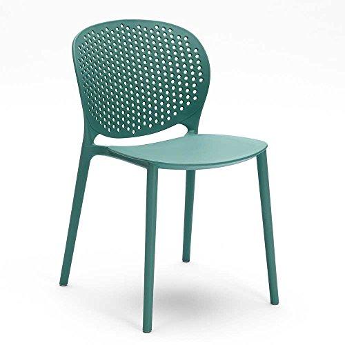 Pharao24 Stuhl Set in Türkis Kunststoff (4er Set)