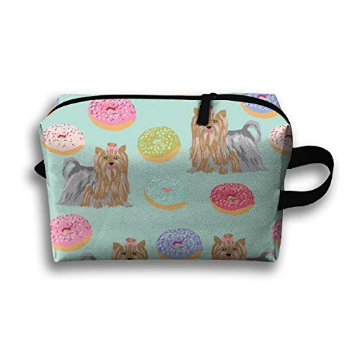 Makeup Cosmetic Bag Yorkie Dog Cute Mint Donuts Yorkshire Terriers Cute Dogs Best Dog_946 Medicine Bag Zip Travel Portable Storage Pouch for Mens Womens 10x4.9x6.3 Inch