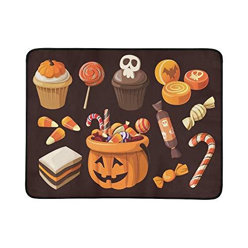 lloween Süßwaren Süßigkeiten Icons Tragbare Und Faltbare Deckenmatte 60x78 Zoll Handliche Matte Für Camping Picknick Strand Indoor Outdoor Reise ()