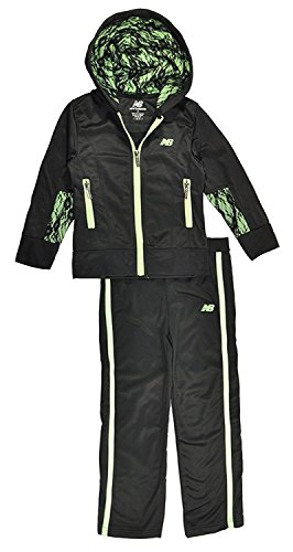 New Balance Little Girls Lace Detailed Hoodie 2pc Track Pant Set (4, Black/Lime) (Pant Polyester Front Plain)