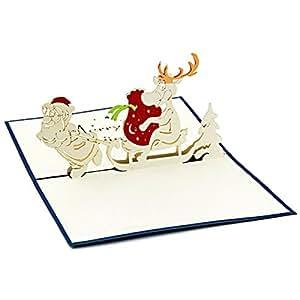 2 pop up 3d weihnachtskarten santa und deer b robedarf schreibwaren - Weihnachtskarten amazon ...