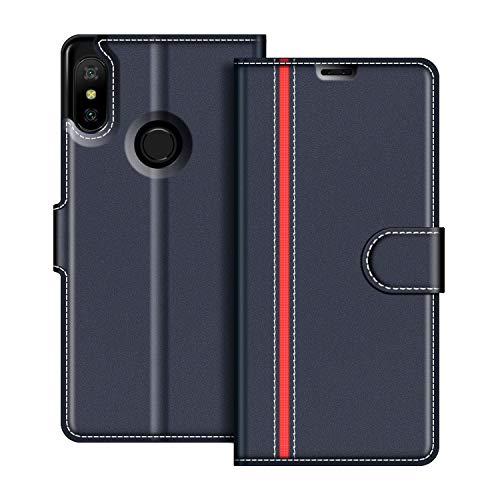 COODIO Funda Xiaomi Mi A2 Lite con Tapa, Funda Movil Xiaomi Mi A2 Lite, Funda Libro Xiaomi Mi A2 Lite Carcasa Magnético Funda para Xiaomi Mi A2 Lite, Azul Oscuro/Rojo