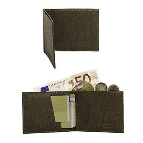 FRITZVOLD MINIMAL Wallet, RFID-Schutz & Münzfach, kleines, dünnes Portemonnaie für Damen & Herren, extrem Flacher Geldbeutel, Slim Portmonee, Geldbörse aus waschbarem Papier-Kunstleder, braun Db-papier