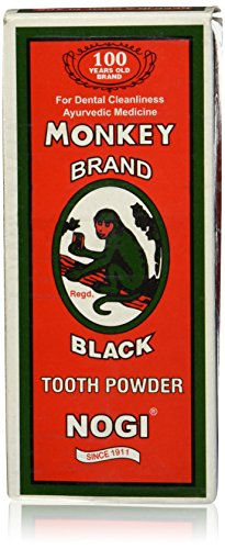 Monkey Brand Black Tooth Powder Nogi Ayurvedic New in box 100 Grams by Monkey Brand