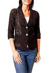 Easy Young Fashion Damen Blazer Jacke aus Spitze Transparent 3/4 Arm Spitzenjacke Kurzblazer Schwarz L 40
