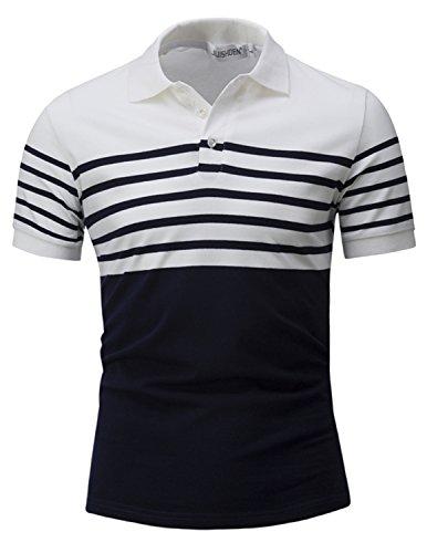 YCHENG Herren Kurzarm Polo t Shirt Freizeit Polohemd Sportshirt Slim fit Weiß