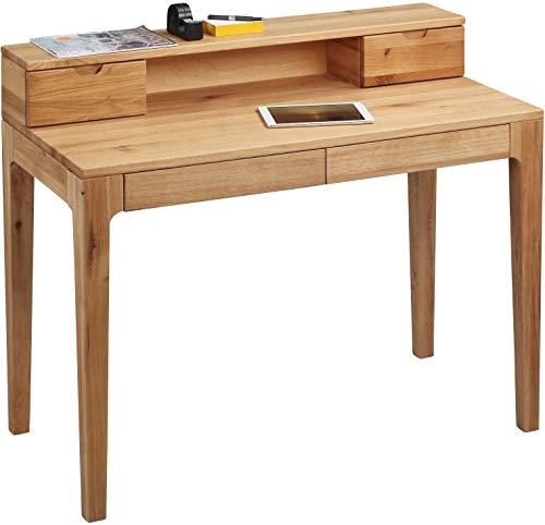 HomeTrends4You 612522 Schreibtisch / Sekretär / Konsolentisch Oskar, Echtholz Wildeiche massiv geölt, mit Schubladen und Aufsatz, 110x55cm, Gesamthöhe 96cm, Höhe Tischplatte 76cm