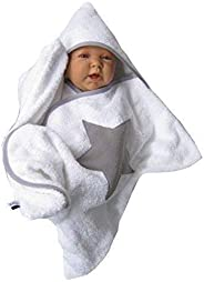 stern star baby wrap kapuzenhandtuch frottee wei? swaddle