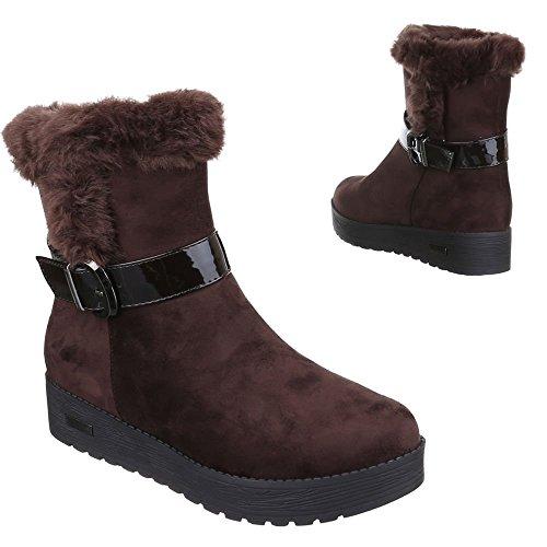 ac5978d41591 Damen Schuhe, H515, STIEFELETTEN WARM GEFÜTTERTE BOOTS Braun -optik ...