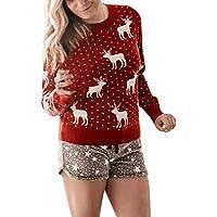 LILICAT☃ Elemento navideño Estampado Festival Cuello Redondo Manga Larga Jersey suéter Top Camisetas de Manga Larga Estampada Ciervos Sudadera Jersey Blusa