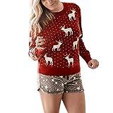 Dorical Weihnachtspullover Damen Rot Outwear Rentier Sweatshirt T-Shirt Hochwertige Schicke Elegante Merry Christmas Kleidung für Frauen Günstige Kaufen Online Sale