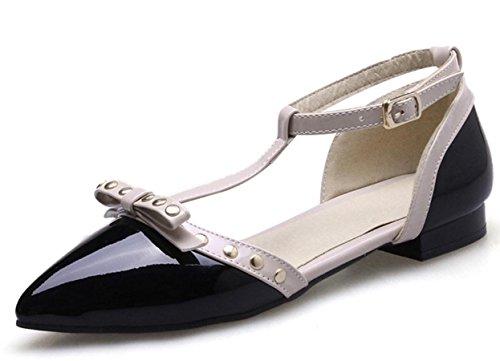 YCMDM Sandales Printemps Eté Automne Club Chaussures PU Office Carrière Party Robe de soirée Flat Heel Bowknot Black Red Almond Black