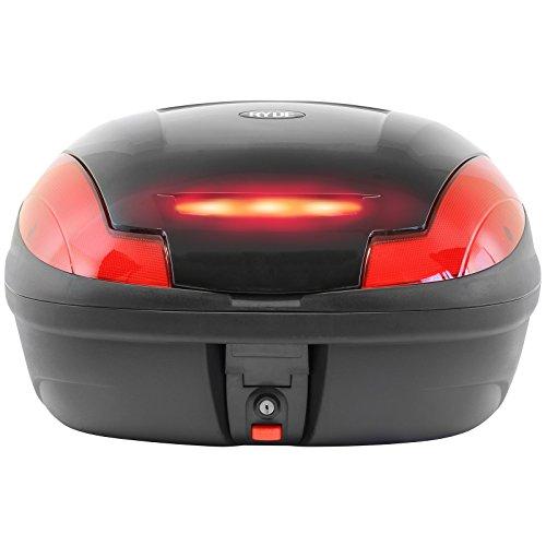 Ryde 48l Glänzend-schwarzer Motorradkoffer, Topcase, Helmkoffer mit eingebautem LED-Licht