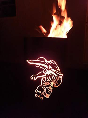 Tiko-Metalldesign Feuerkorb/Feuertonne mit Motiv Skater