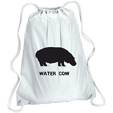 Alternativa a tema animale nomi Acqua Mucca simpatica Ippopotamo Animale Da donna sacchetto di scuola Gym Sack, Donna, bianco, Taglia unica